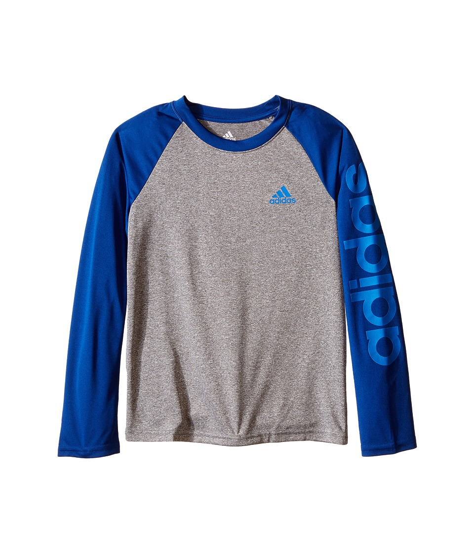 adidas Kids - Climalite Long Sleeve Tee (Big Kids) (Medium Grey Heather/EQT Blue) Boy's Long Sleeve Pullover