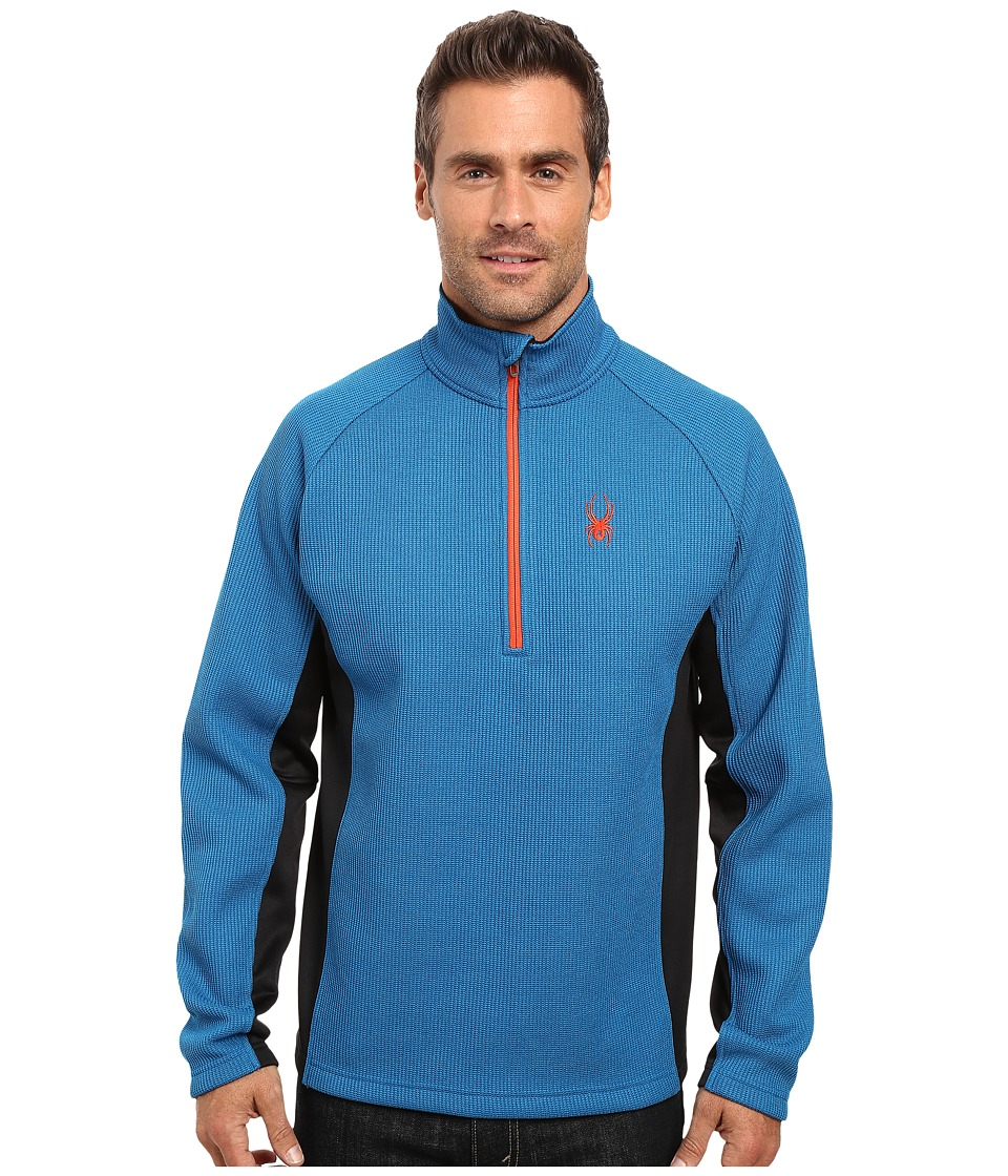 Spyder - Outbound Half Zip Mid Weight Core Sweater (Concept Blue/Black/Rage) Men's Long Sleeve Pullover