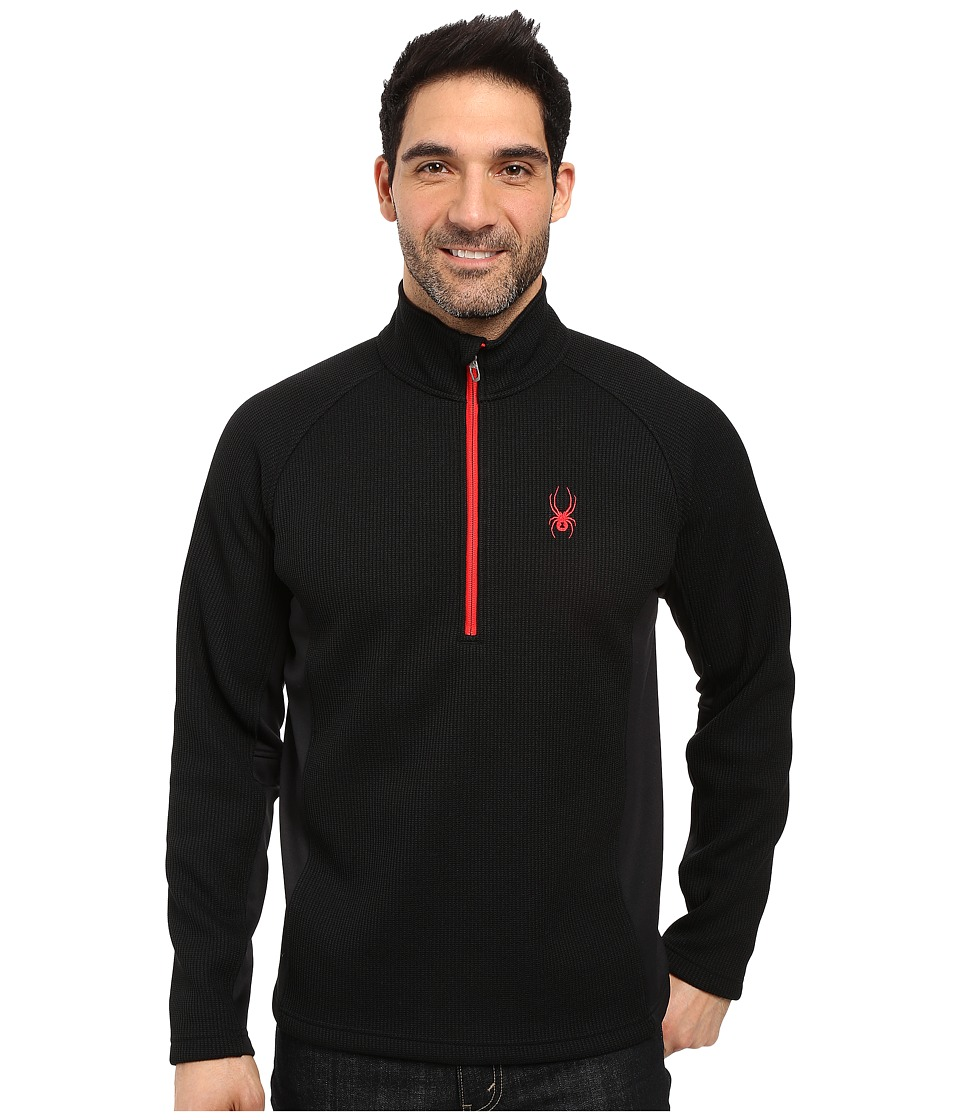 Spyder - Outbound Half Zip Mid Weight Core Sweater (Black/Black/Red) Men's Long Sleeve Pullover