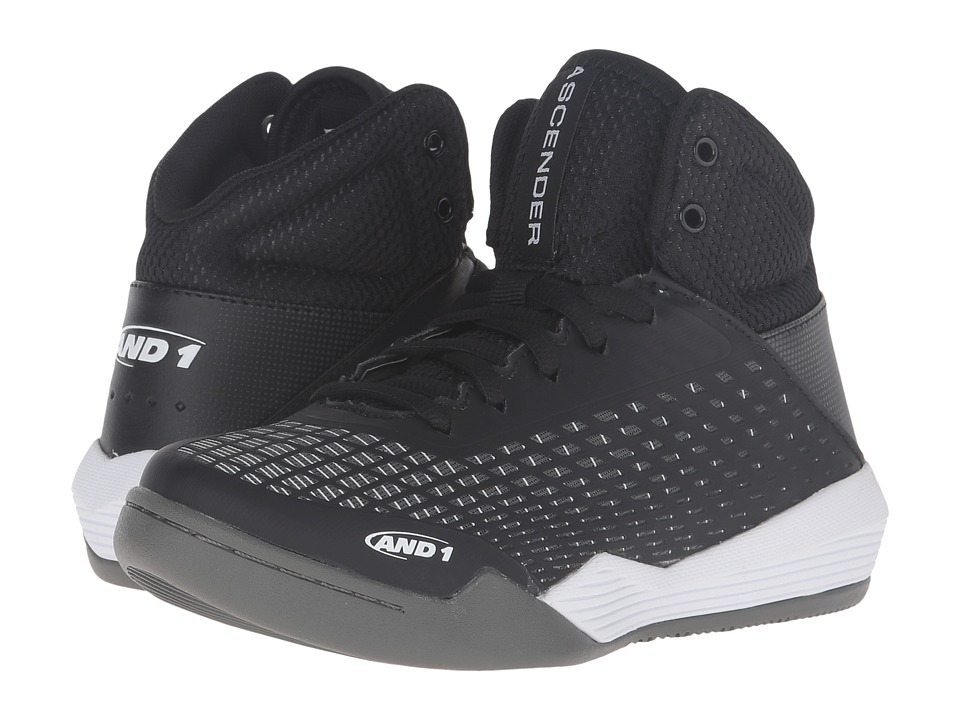 AND1 Kids - Ascender (Little Kid/Big Kid) (Black/White/Gunmetal) Boys Shoes