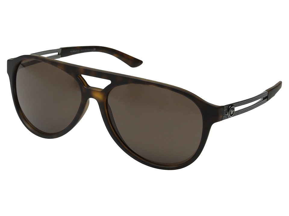 Versace - VE4312 (Havana Rubber/Brown) Fashion Sunglasses