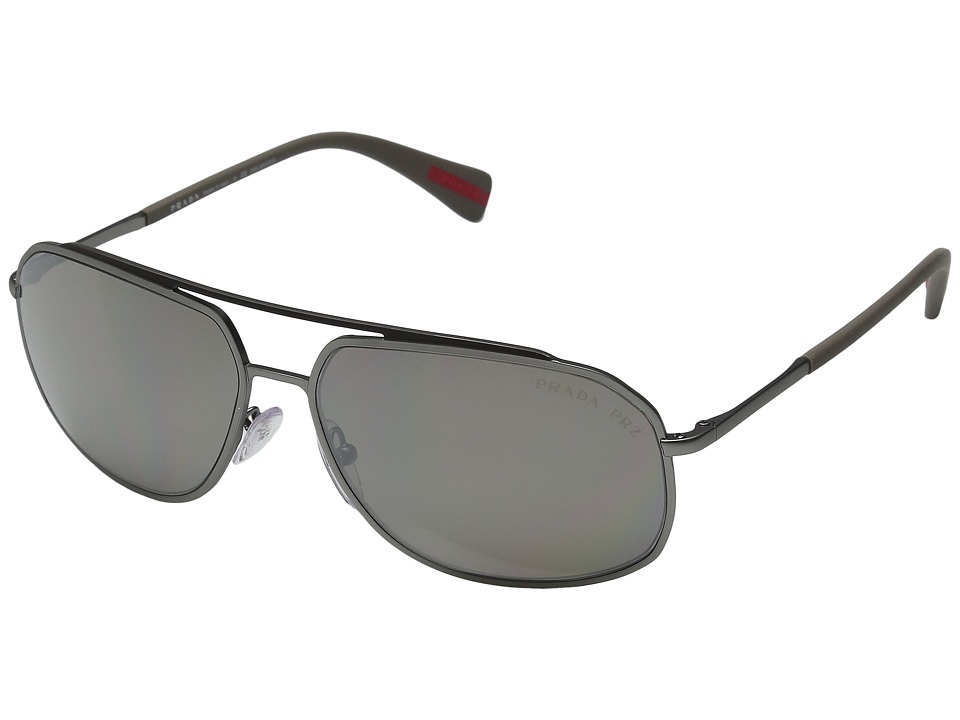 Prada Linea Rossa - 0PS 56RS (Lead Rubber/Dark Brown Mirror Silver Polarized) Fashion Sunglasses