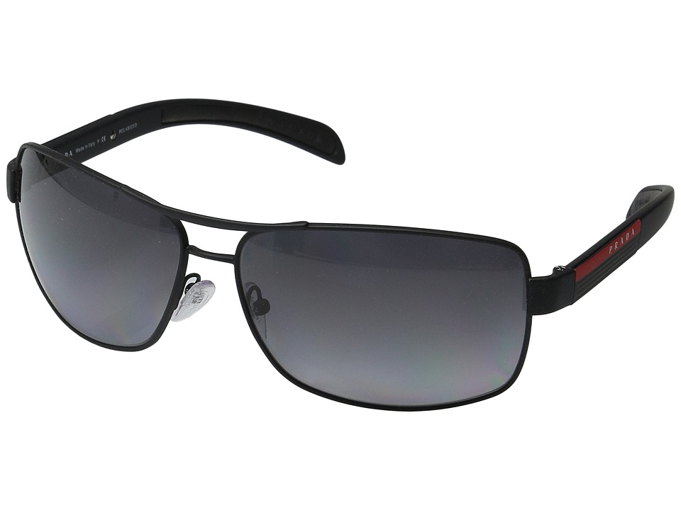 Prada Linea Rossa - 0PS 54IS (Black Rubber/Grey Polarized) Metal Frame Fashion Sunglasses