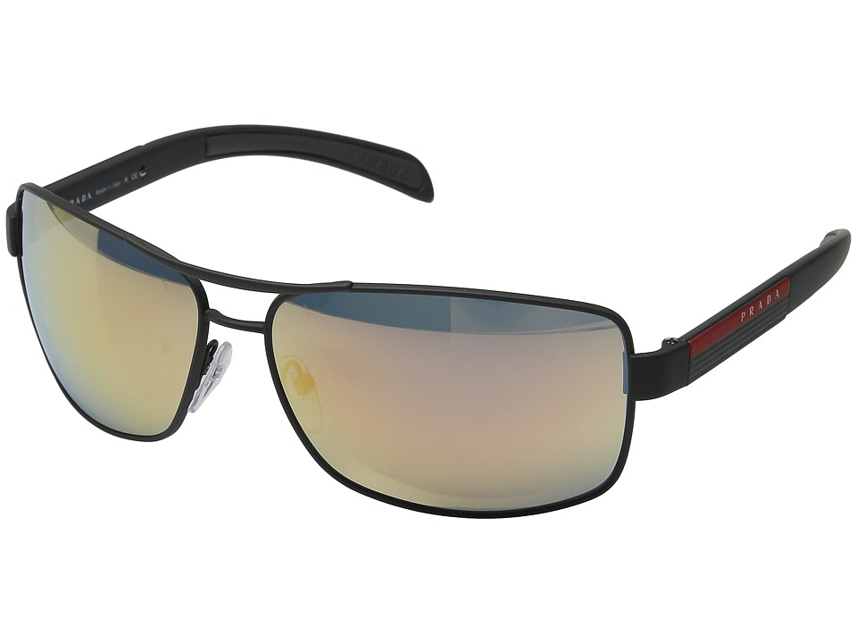 Prada Linea Rossa - 0PS 54IS (Grey Rubber/Grey Rose Gold Mirror) Metal Frame Fashion Sunglasses