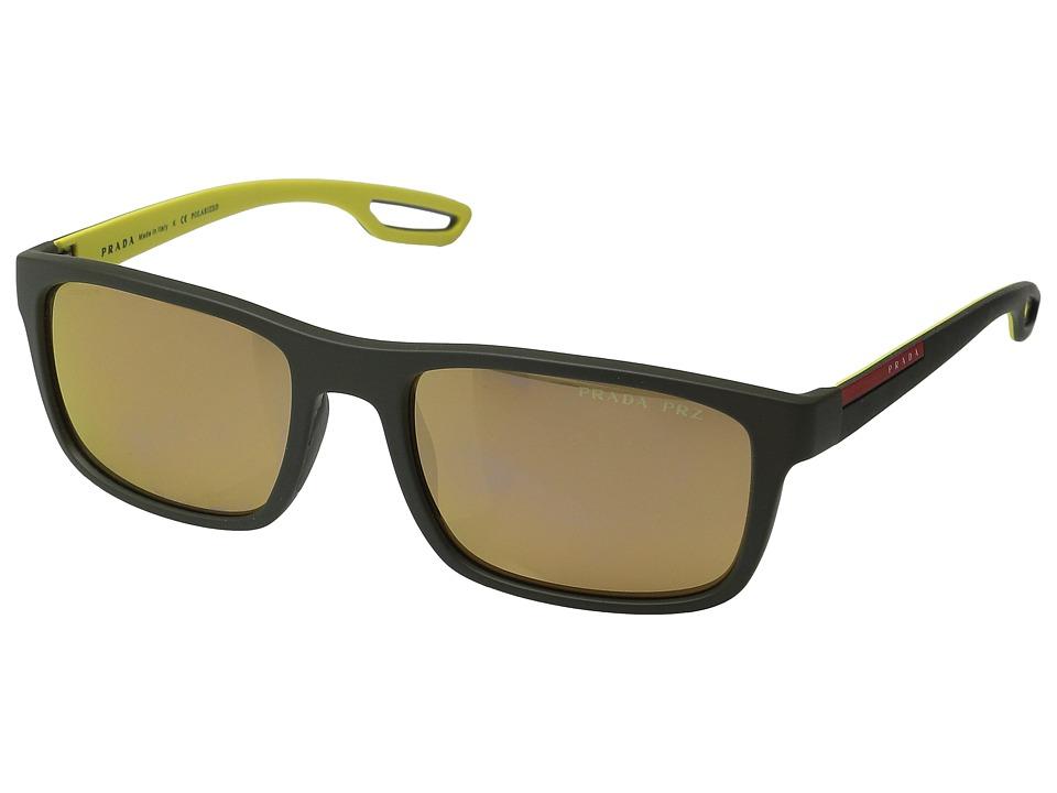 Prada Linea Rossa - 0PS 03RS (Rubber Green/Polarized Brown) Fashion Sunglasses