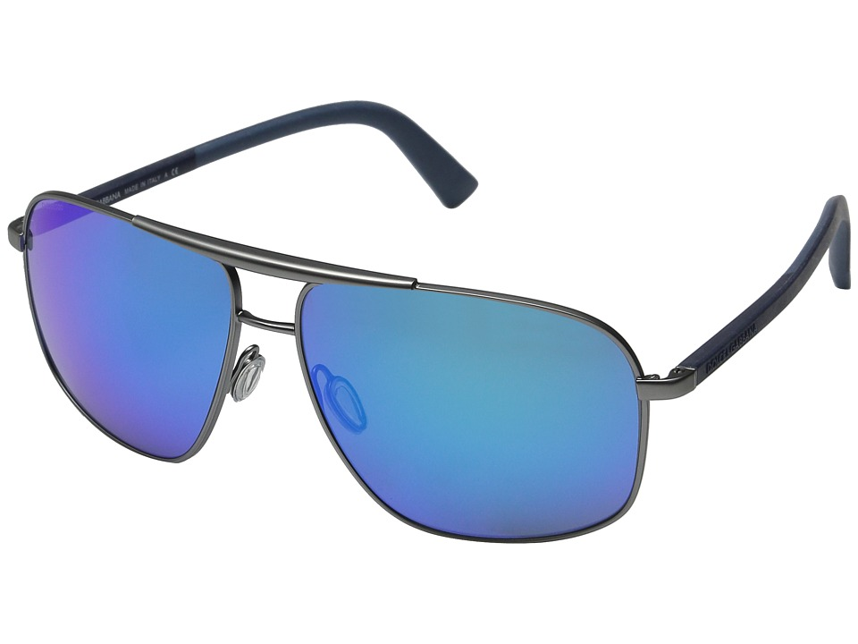 Dolce & Gabbana - 0DG2154 (Rubber Dark Blue/Green Mirror Light Blue) Fashion Sunglasses