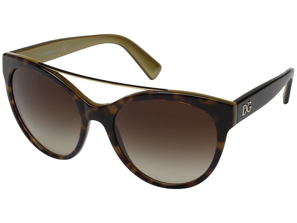 Dolce & Gabbana - 0DG4280 (Top Havana Gold/Brown Gradient) Fashion Sunglasses