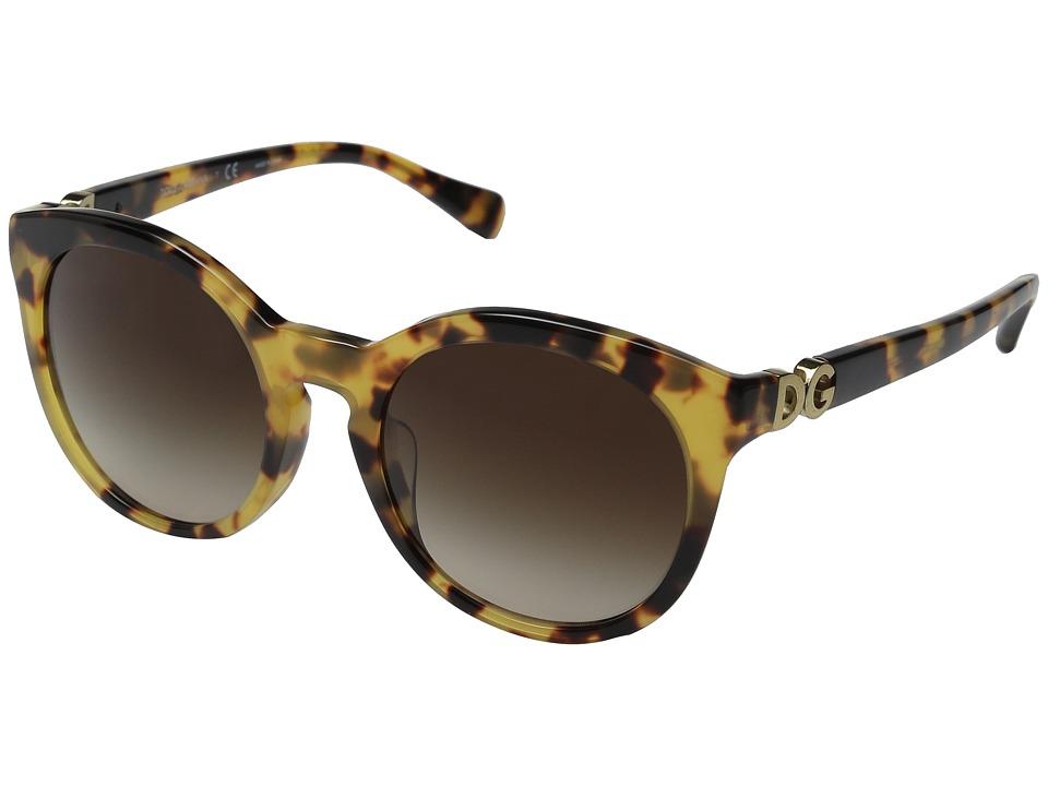Dolce & Gabbana - 0DG4279F (Cube Havana/Brown Gradient) Fashion Sunglasses