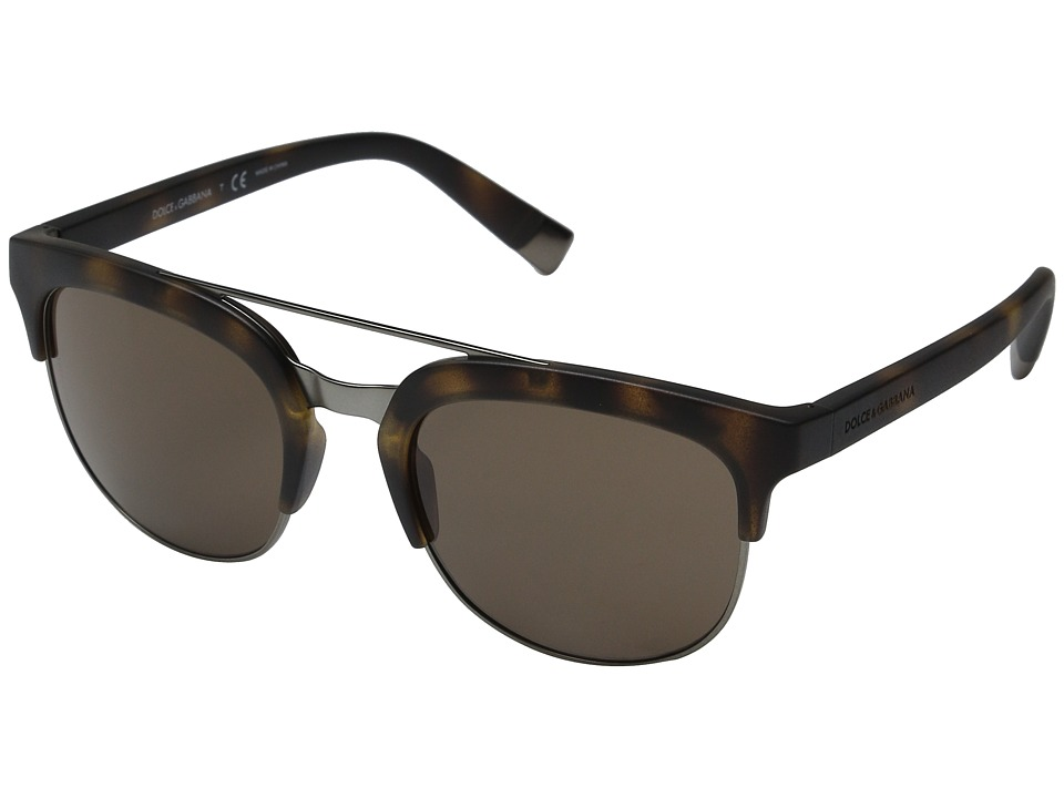 Dolce & Gabbana - 0DG6103 (Matte Dark Havana/Brown) Fashion Sunglasses