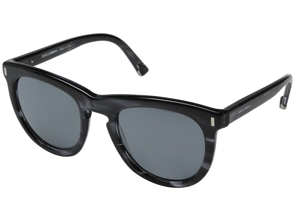 Dolce & Gabbana - 0DG4281 (Striped Anthracite/Grey Mirror Black) Fashion Sunglasses
