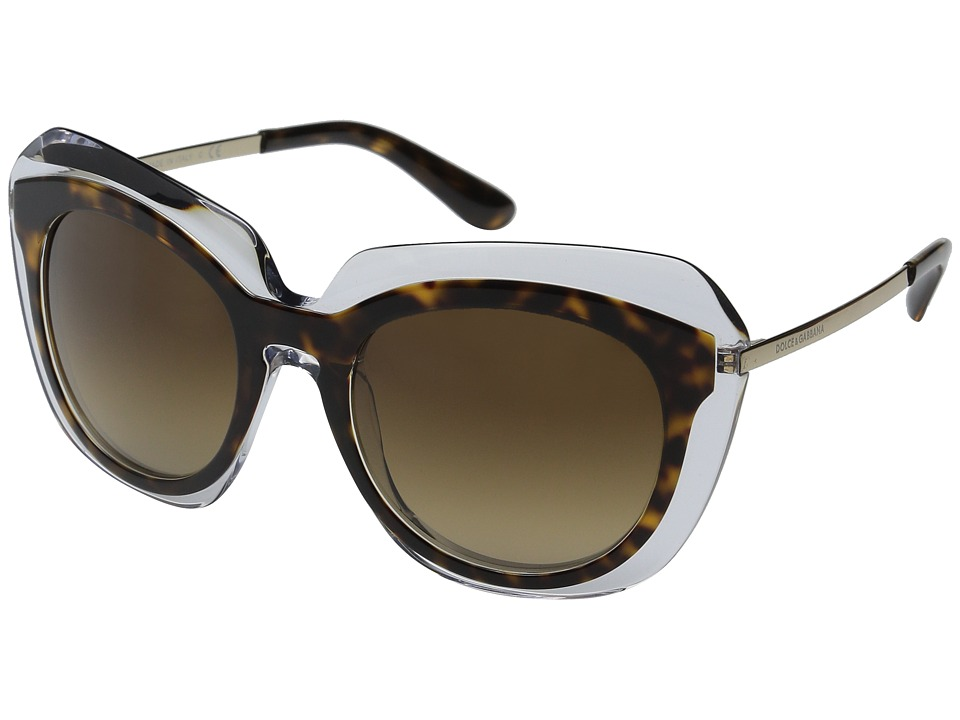 Dolce & Gabbana - 0DG4282 (Havana Transparent/Brown Gradient) Fashion Sunglasses