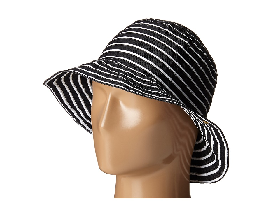 LAUREN Ralph Lauren - Poly Striped Signature Grosgrain Bucket Hat (Black/Pearl) Bucket Caps