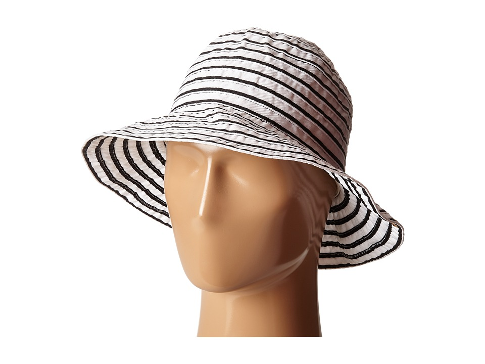 LAUREN Ralph Lauren - Poly Striped Signature Grosgrain Bucket Hat (Pearl/Black) Bucket Caps