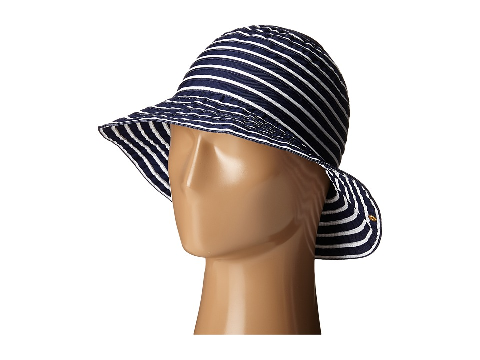 LAUREN Ralph Lauren - Poly Striped Signature Grosgrain Bucket Hat (Capri Navy/Pearl) Bucket Caps