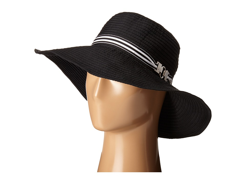 LAUREN Ralph Lauren - Poly Signature Grosgrain Sun Hat (Black/Black & White) Traditional Hats
