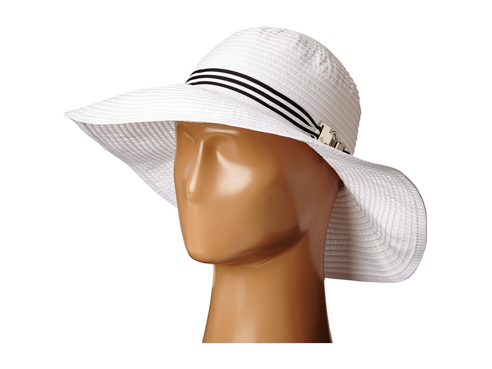LAUREN Ralph Lauren - Poly Signature Grosgrain Sun Hat (Pearl/Black & White) Traditional Hats