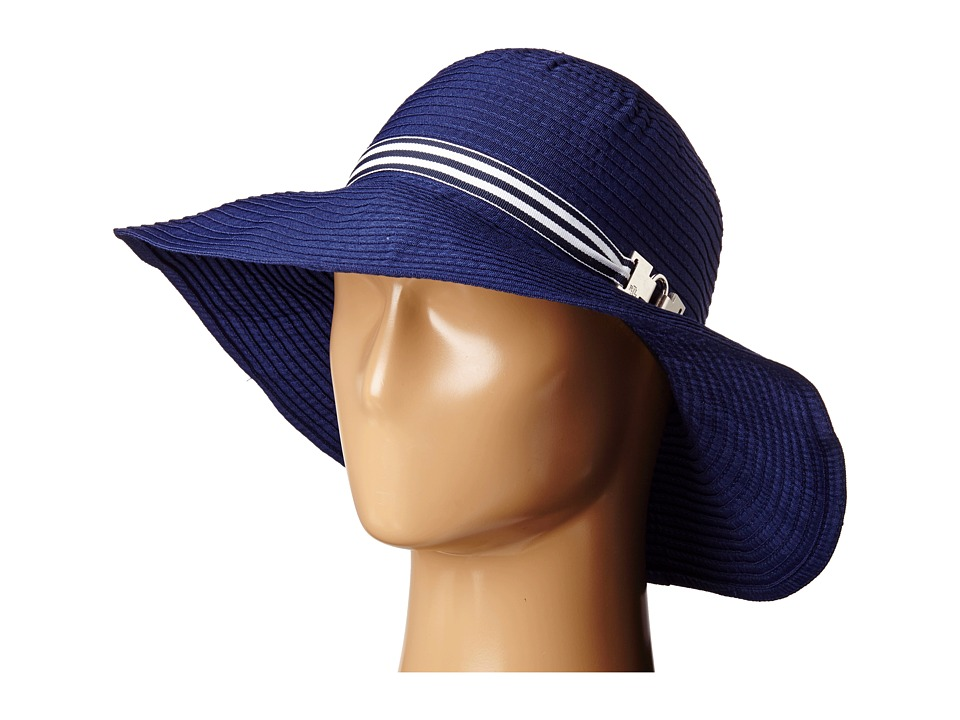 LAUREN Ralph Lauren - Poly Signature Grosgrain Sun Hat (Capri Navy/Navy & White) Traditional Hats