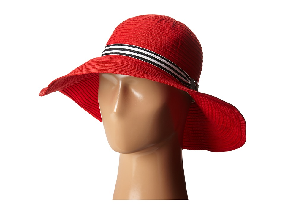 LAUREN Ralph Lauren - Poly Signature Grosgrain Sun Hat (Deco Coral/Black & White) Traditional Hats