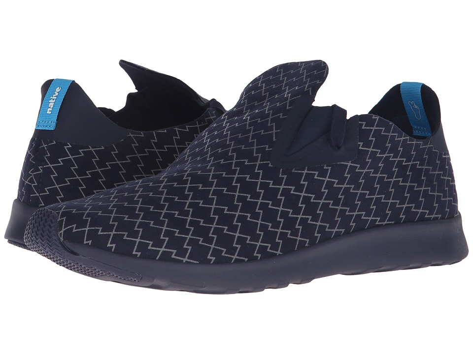 Native Shoes - Embroidered Apollo Moc (Regatta Blue/Regatta Blue/Lightning) Slip on Shoes