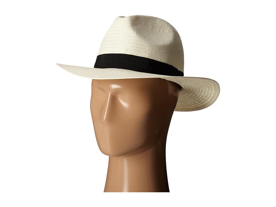 LAUREN Ralph Lauren - Paper Straw Classic Fedora (Pearl/Black) Fedora Hats