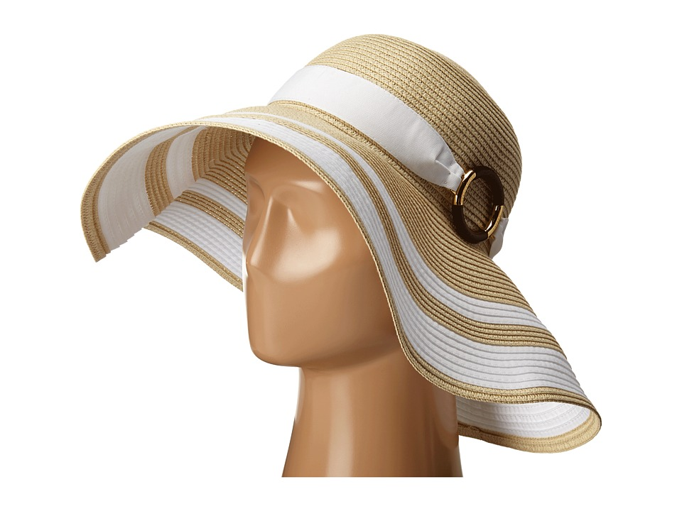 LAUREN Ralph Lauren - Paper Straw Bright Natural Sun Hat (Natural/Pearl) Traditional Hats