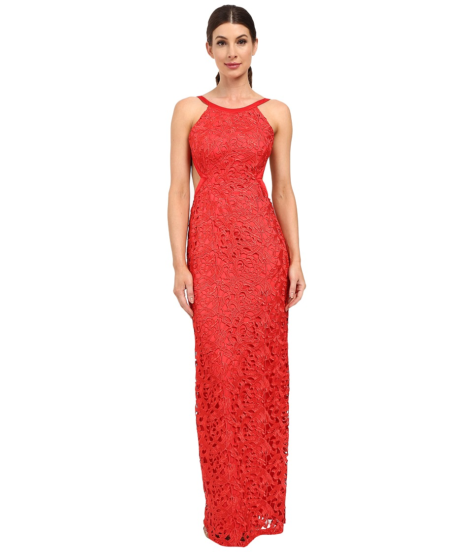 Aidan Mattox Long Lace Halter Gown with Open Back and Cut Out Sides Red Dress