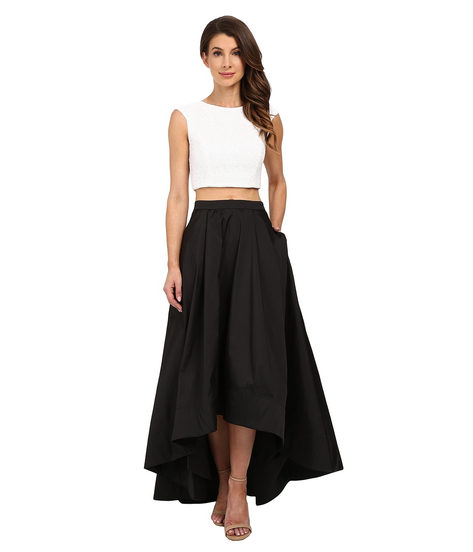 Aidan Mattox - Sequin Cap Sleeve Crop Top with A-Line Taffeta Ball Skirt (Ivory/Black) Women's Dress