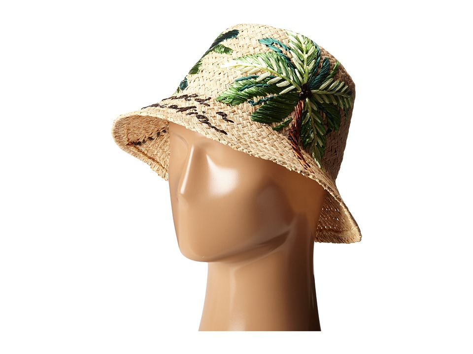 Kate Spade New York - I Need A Vacation Cloche Sun Hat (Natural Raffia) Traditional Hats