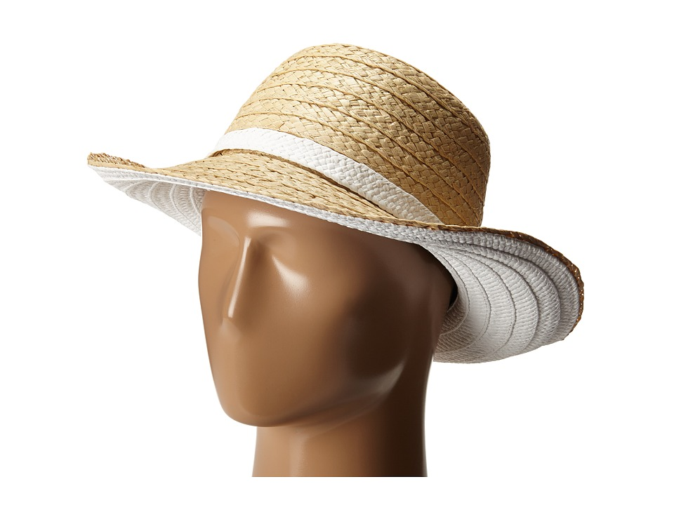 Kate Spade New York - Color Blocked Asymmetrical Sun Hat (Fresh White) Traditional Hats