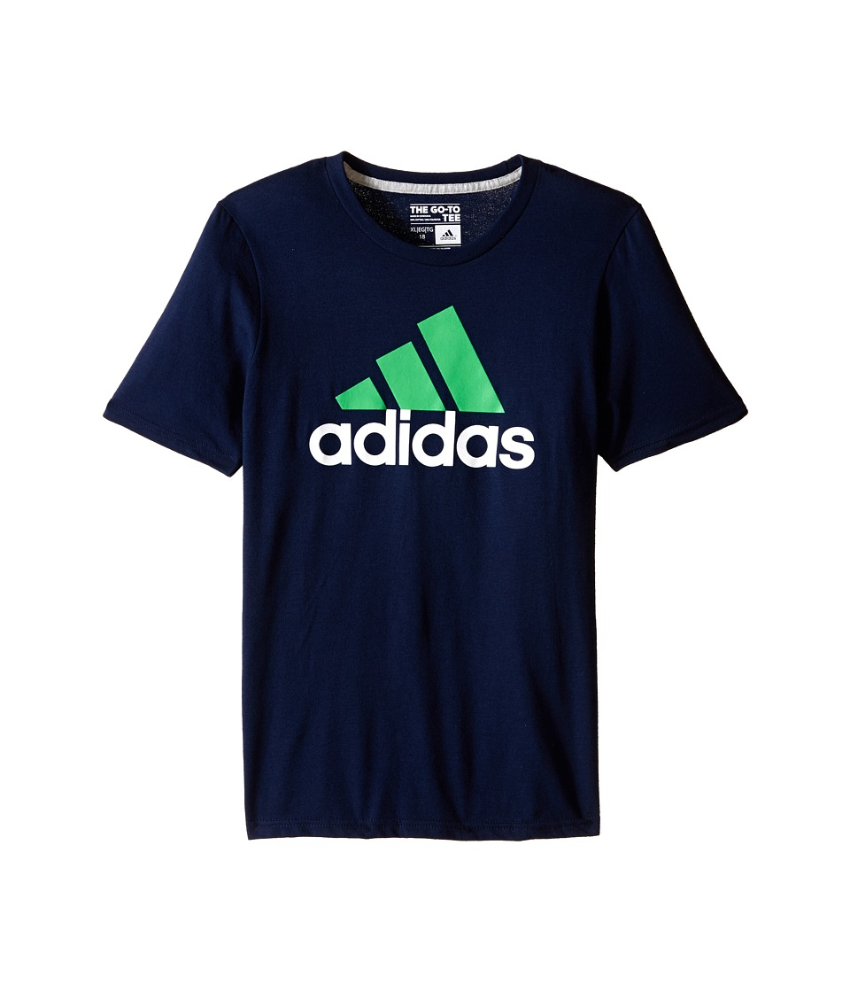 adidas Kids - 30's S/S Tee Adi Logo (Big Kids) (Collegiate Navy/Solar Lime) Boy's Short Sleeve Pullover