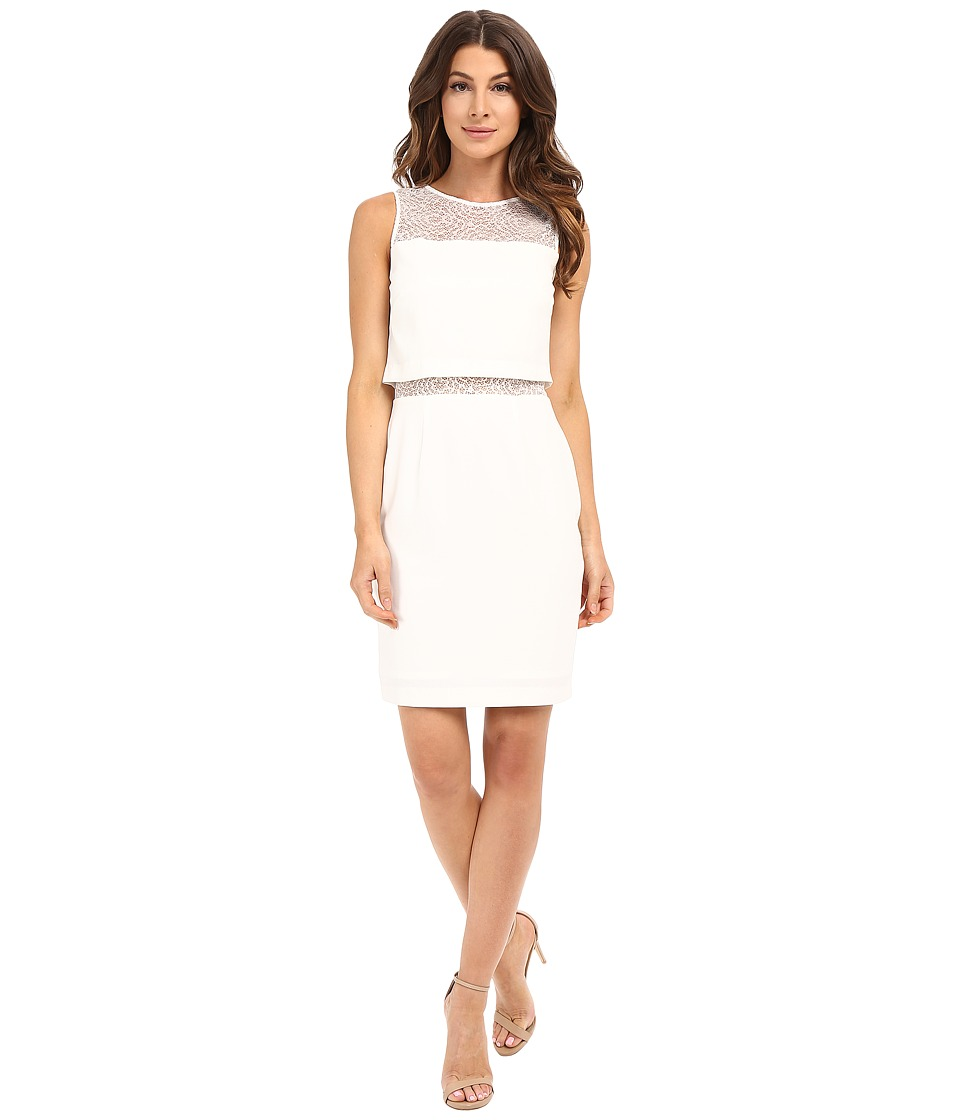 Aidan Mattox Illusion Two-Piece Crop Top Dress with Lace Yoke and Waist Detail (Ivory) Women