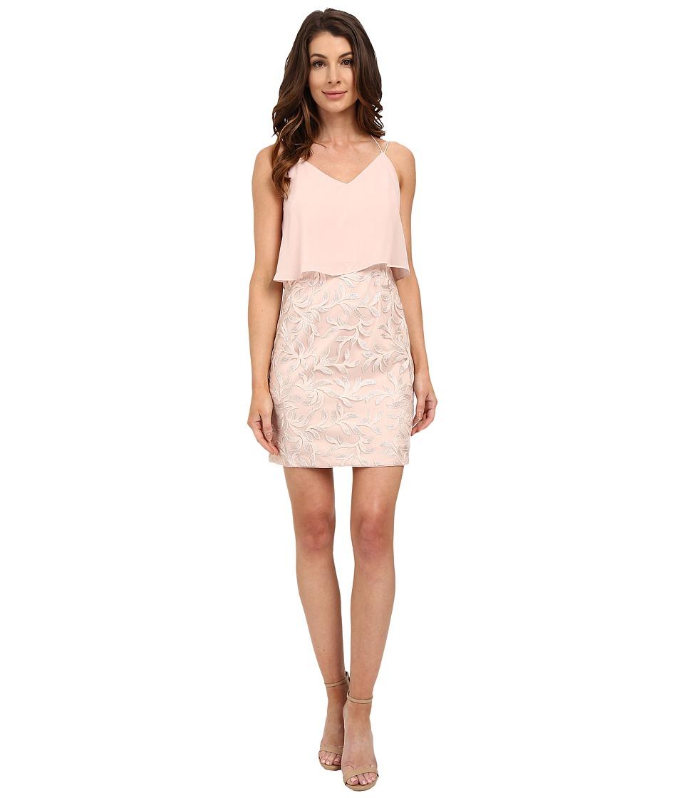 Aidan Mattox Pop Over Chiffon Top with Embroidered Skirt Blush-Multi Dress