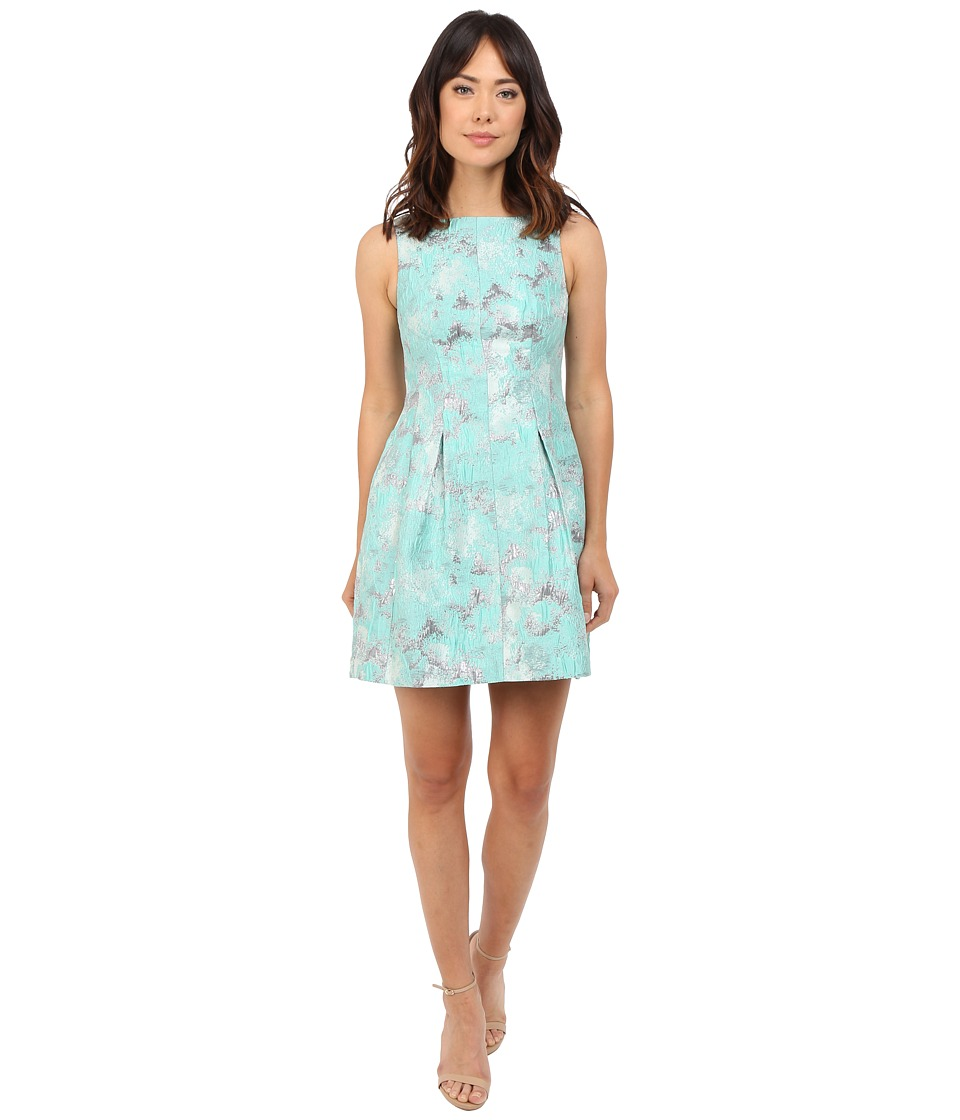 Aidan Mattox Sleeveless Metallic Jacquard Sleeveless Dress (Mint) Women