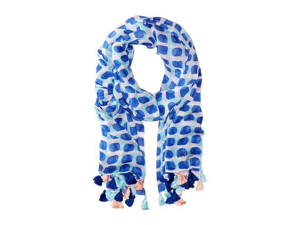 Kate Spade New York - Island Stamped Texture Oblong Scarf (Adventure Blue) Scarves