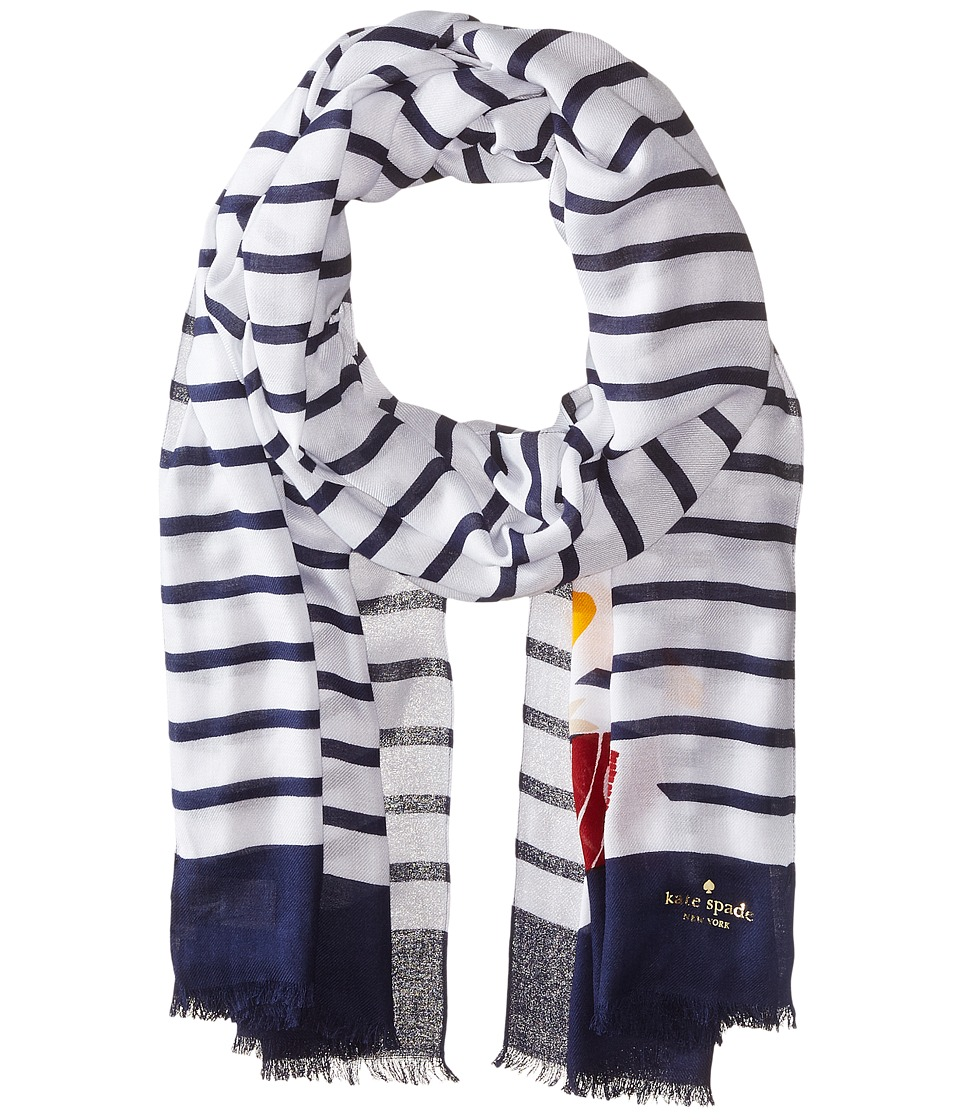 Kate Spade New York - Percy On Stripe Oblong Scarf (Cream) Scarves