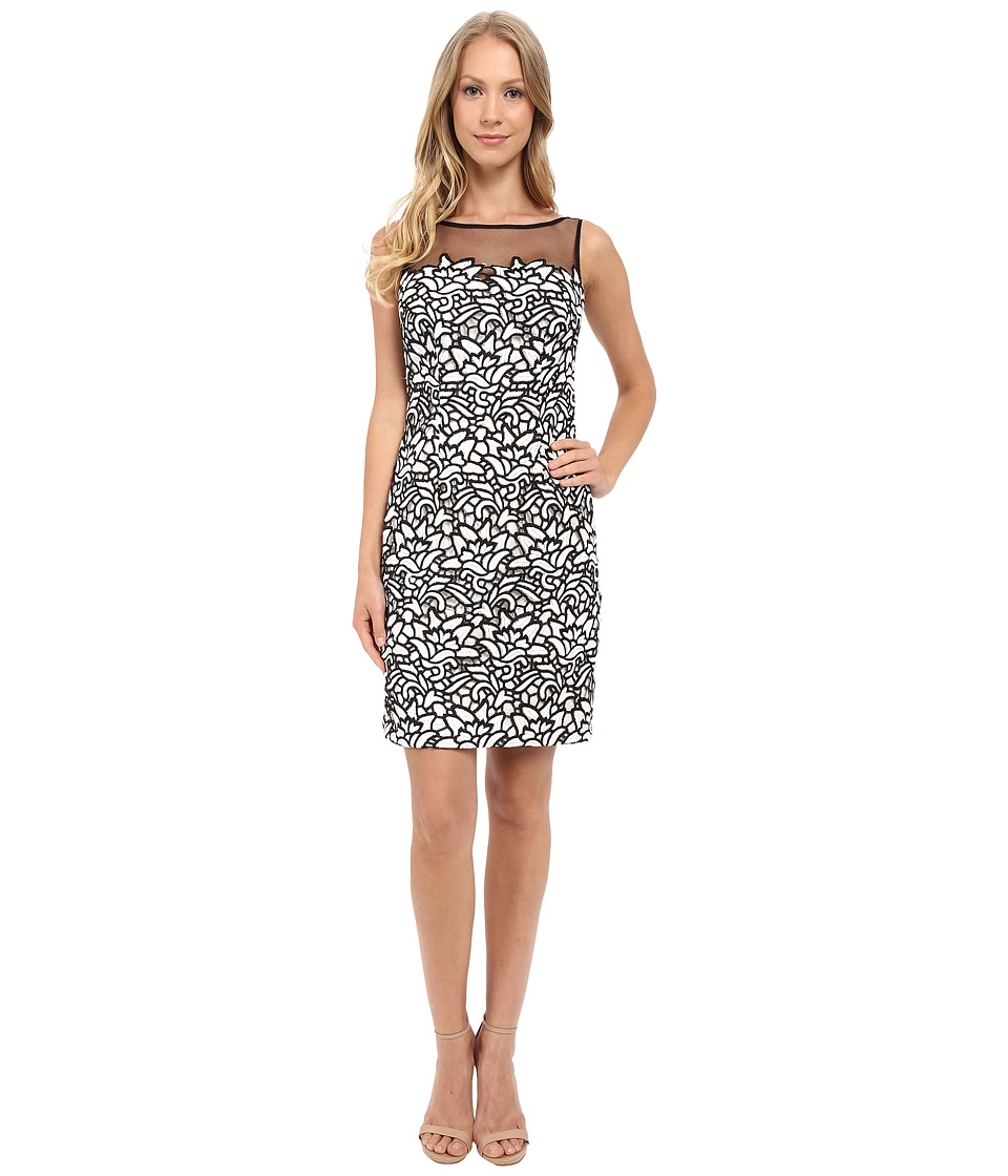 Aidan Mattox Two-Tone Lace Cocktail Dress with Illusion Neck Detail (Ivory/Black) Women