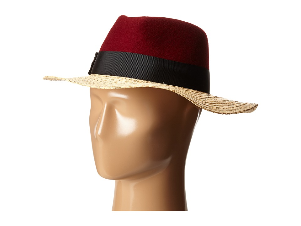 Kate Spade New York - Felt and Raffia Fedora (Red Chestnut) Fedora Hats