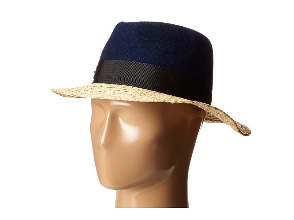 Kate Spade New York - Felt and Raffia Fedora (Navy) Fedora Hats