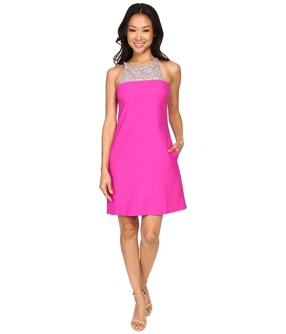 Image of Aidan Mattox - A-Line Crepe Dress with Beaded Necklace Detail (Berry) Women's Dress