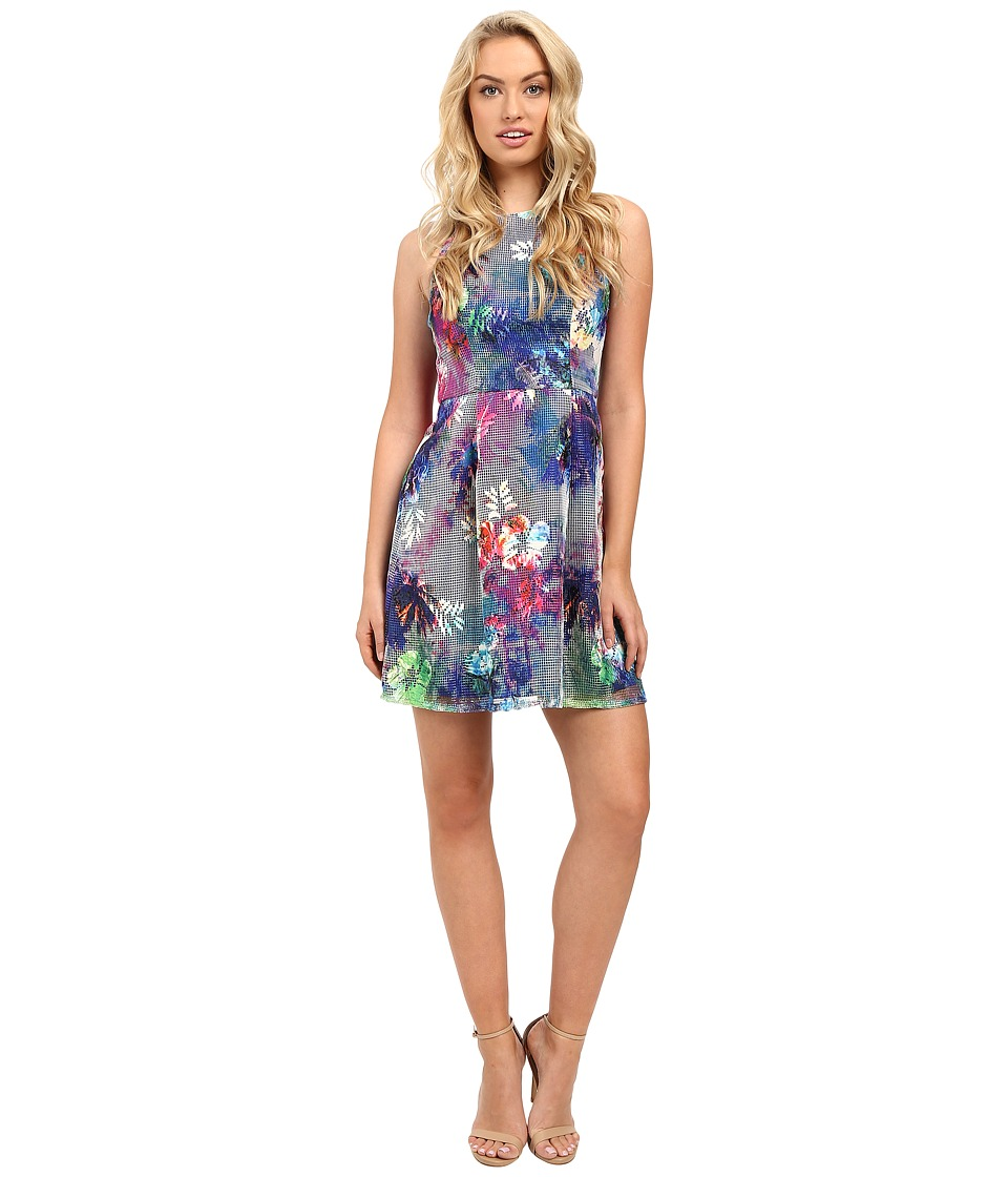 Aidan Mattox Sleeveless Printed Mesh Party Dress
