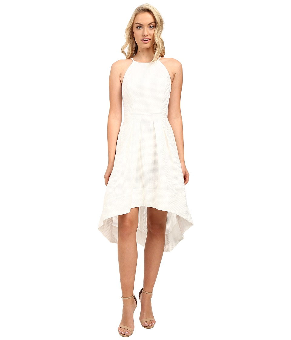 Aidan Mattox Sleeveless Basket Weave Pattern Halter with High-Low Hem Ivory Dress