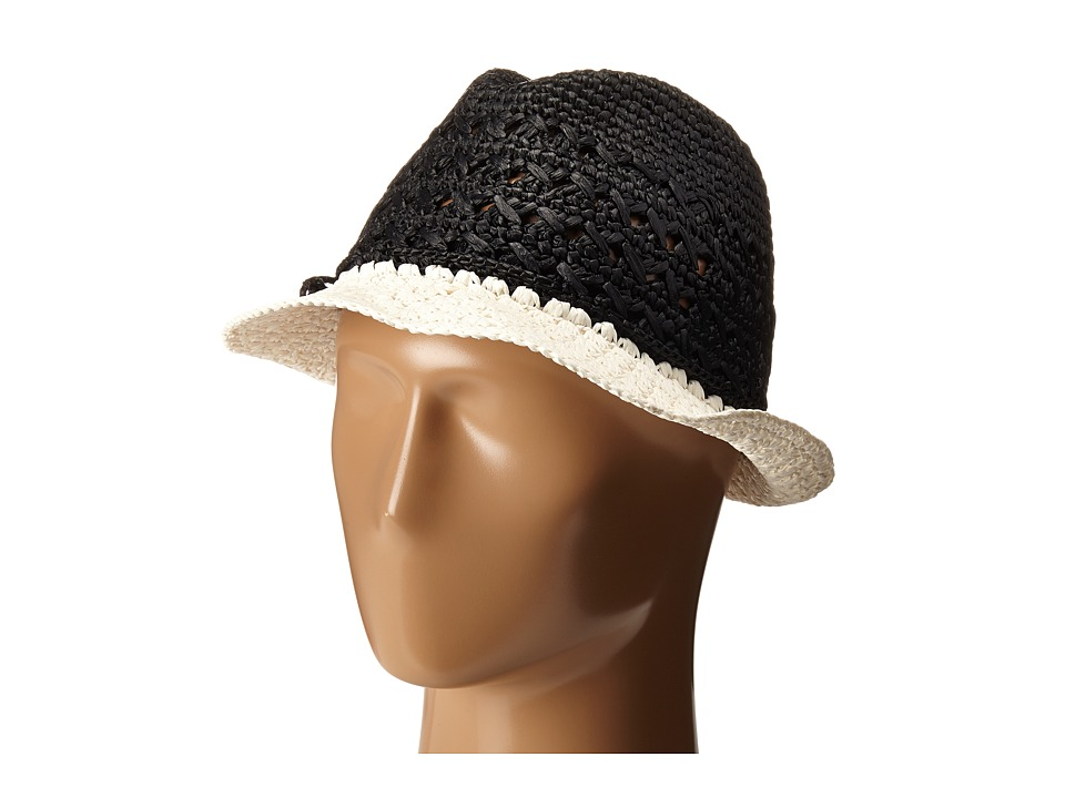 Kate Spade New York - Crochet Crushable Fedora (Black) Fedora Hats