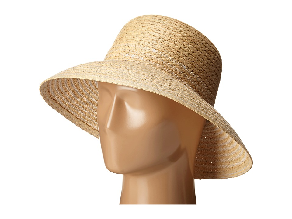 LAUREN Ralph Lauren - Braided Top Stitched Raffia Sun Hat (Natural/White) Traditional Hats
