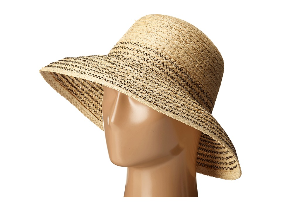 LAUREN Ralph Lauren - Braided Top Stitched Raffia Sun Hat (Natural/Black) Traditional Hats
