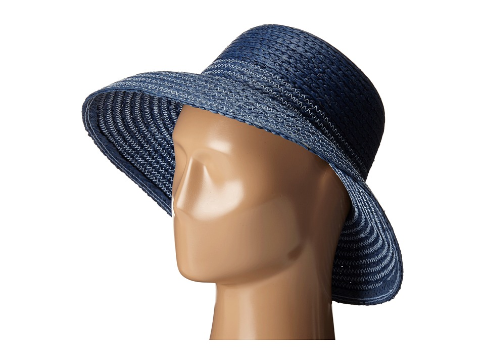 LAUREN Ralph Lauren - Braided Top Stitched Raffia Sun Hat (Indigo/Navy) Traditional Hats