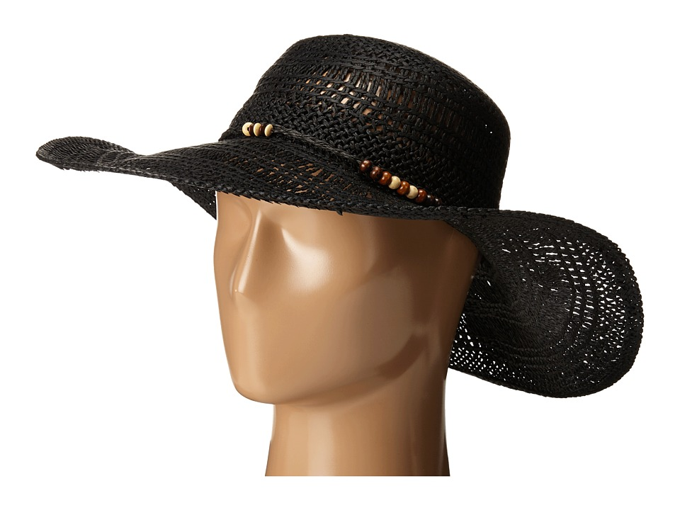 LAUREN Ralph Lauren - Paper Straw Open Weave Tassel Beach Hat (Black) Traditional Hats