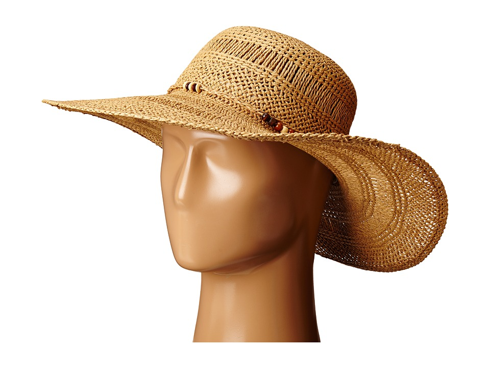 LAUREN Ralph Lauren - Paper Straw Open Weave Tassel Beach Hat (Natural) Traditional Hats