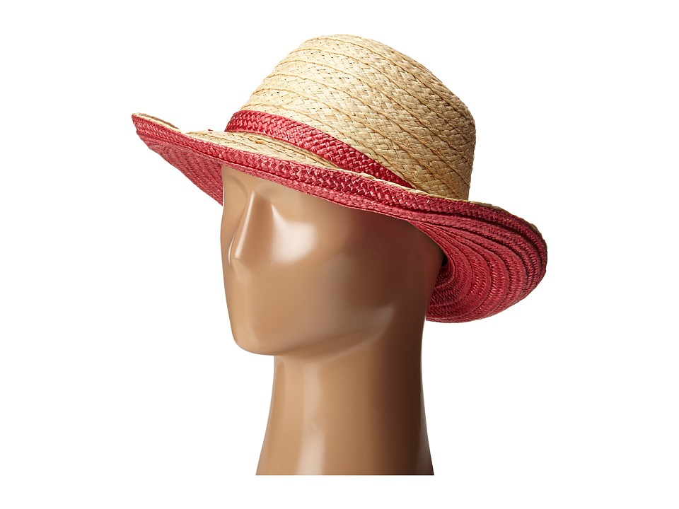 Kate Spade New York - Color Blocked Asymmetrical Sun Hat (Surprise Coral) Traditional Hats