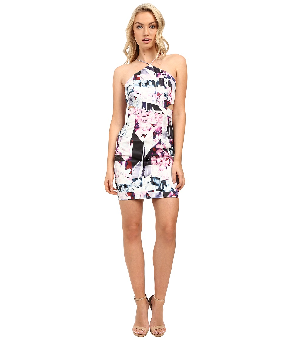 Image of Aidan Mattox - Abstract Print Stretch Halter Dress with Side Cut Outs (Pink/Multi) Women's Dress