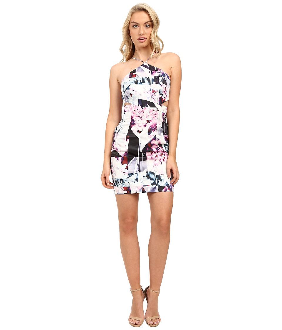 Aidan Mattox Abstract Print Stretch Halter Dress